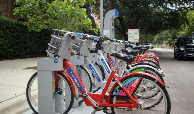 Picture of MetroBikes in a station