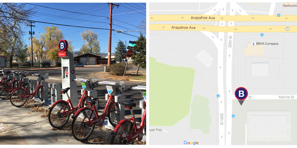 A map and photo of the 30th & Marine bike sharing station