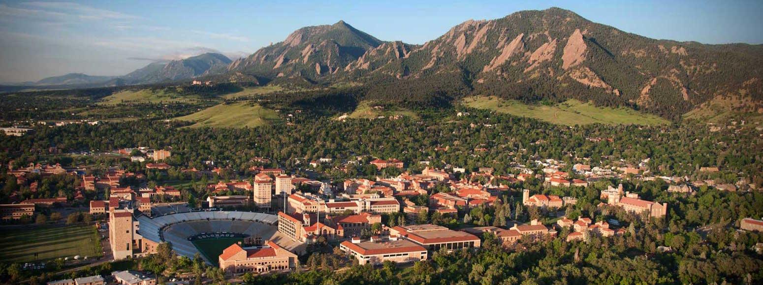 Aerial view of CU Boulder's campus