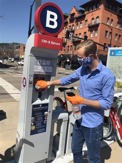brian cleaning bcycle kiosk