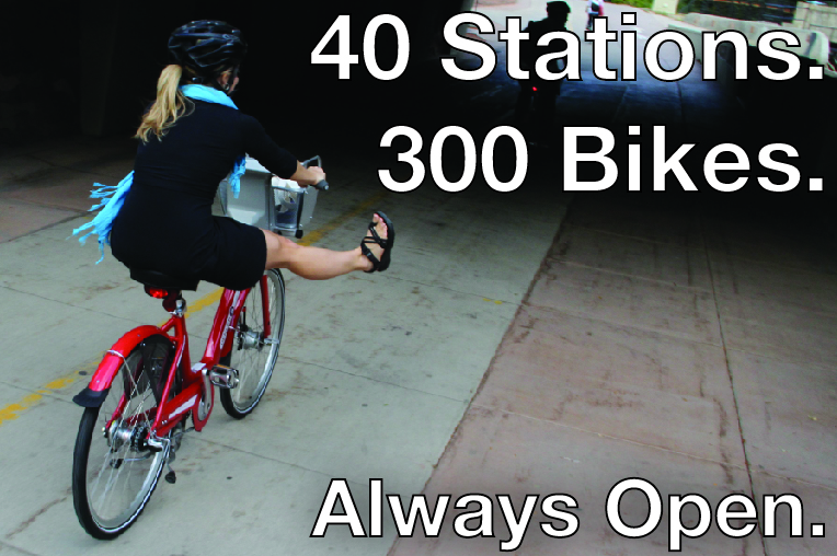 40 Stations. 300 Bikes. Always Open.