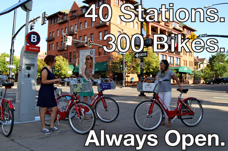 40 Stations. 300 Bikes. Always Open. Three women check out B-cycles from a station